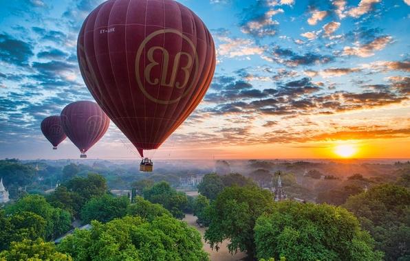 Picture the sky, sunset, balloons, panorama, Myanmar, Burma, Myanmar, Bagan, Burma, Pagan