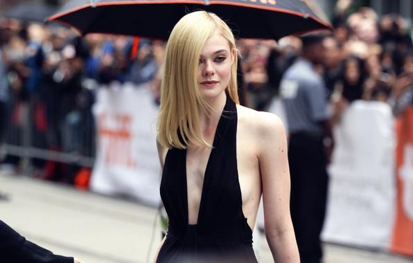 Picture makeup, neckline, the beauty, Elle Fanning