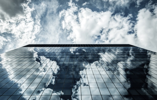 Picture the sky, glass, the city, reflection, up, the building, Windows