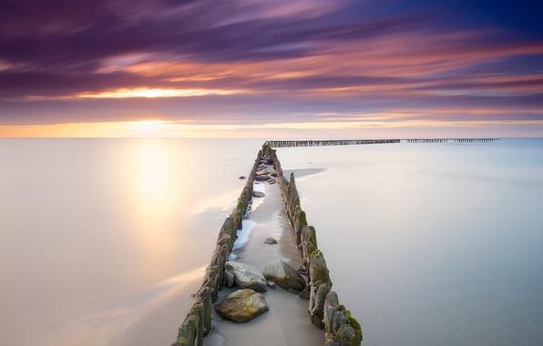 Picture autumn, sunset, lake, Holland, November, The IJsselmeer