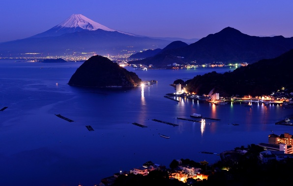 Picture snow, night, the city, lights, mountain, Japan, Fuji