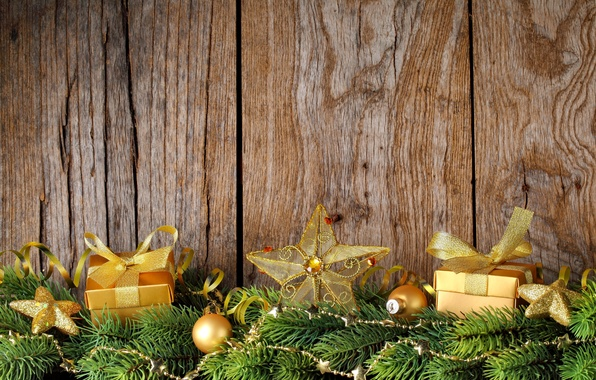 Picture decoration, branches, gift, star, tree, New Year, Christmas, Christmas, wood, decoration, Merry