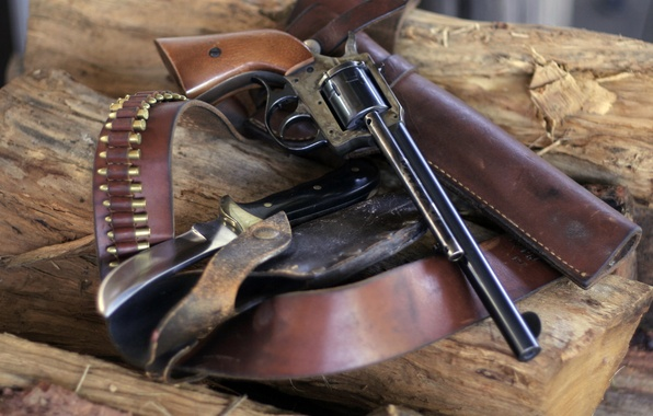 Picture weapons, knife, wood, trunk, strap, revolver