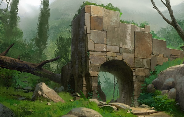 Picture forest, trees, landscape, mountains, stones, thickets, art, arch, ruins, log