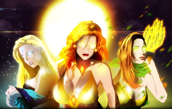 Photo Wallpaper Girl Flame Magic Sparks Arrows Valve Crystal Maiden
