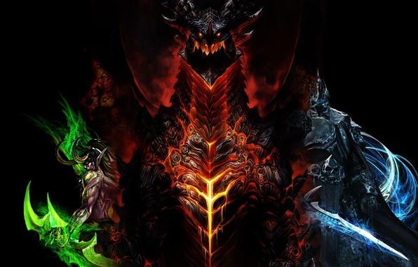 Picture World of Warcraft, Illidan, Arthas, wow, Deathwing, lich king, Deathwing, villains, The Illidan Stormrage, destroyer, …