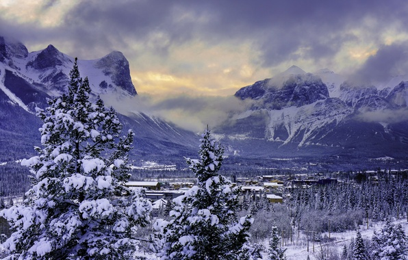 Picture winter, snow, mountains, valley, Canada, Banff National Park, Alberta, Canmore