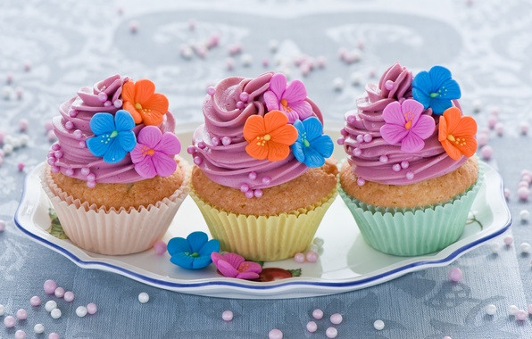 Picture pink, food, decoration, flowers, colorful, cream, dessert, cakes, cakes, sweet, cupcakes, Anna Verdina