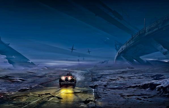 Picture road, auto, night, fiction, car, postapokalipsis, art, Romantically Apocalyptic, alexiuss, zee captain