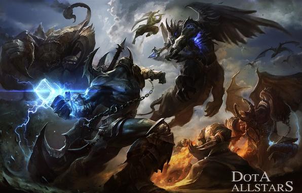 Picture art, battle, warriors, demons, Dota Allstars