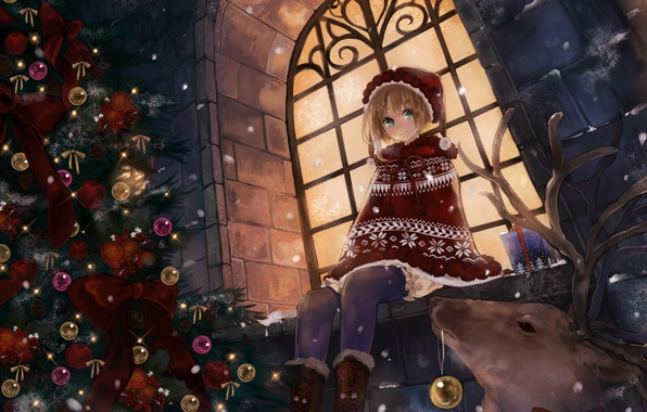 Picture winter, balls, snow, decoration, snowflakes, night, holiday, street, toys, new year, anime, deer, window, girl, …