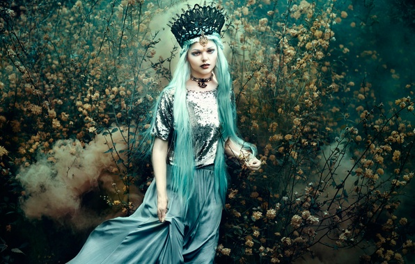 Picture girl, flowers, smoke, dress, Bella Kotak, In the wandering garden