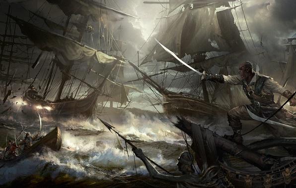 Picture sea, boat, ships, storm, battle, pirates, saber