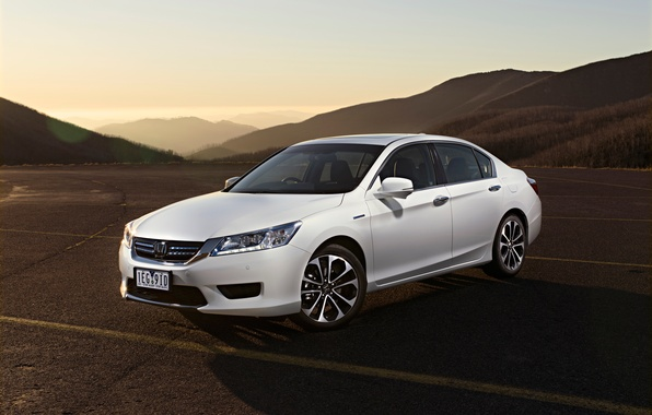 Picture road, sunset, mountains, the evening, white, Honda, Accord, Honda, Hybrid, chord, Sport, AU-spec, 2015