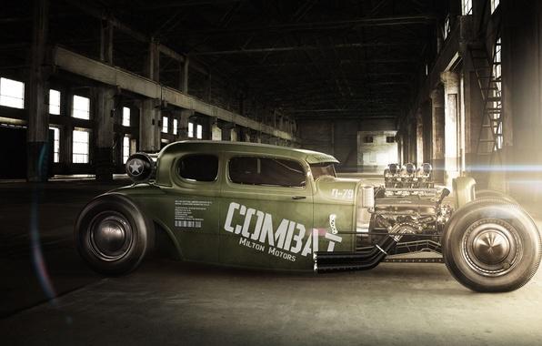 Picture green, hangar, Blik, hot rod, Combat