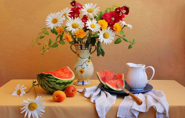 Picture flowers, table, bouquet, watermelon, knife, vase, pitcher, still life, apricot
