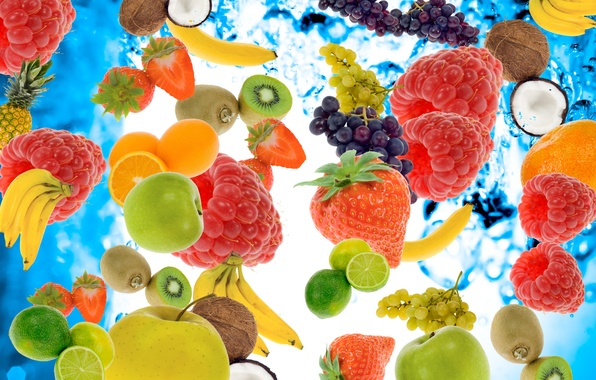 Picture water, berries, raspberry, apples, coconut, kiwi, strawberry, grapes, bananas, lime, fruit, pineapple