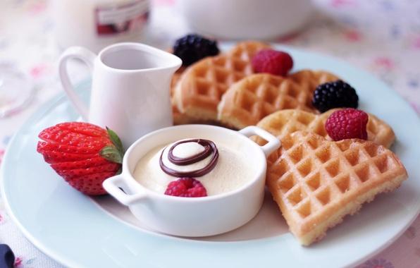 Picture berries, raspberry, food, Breakfast, strawberry, plate, dessert, waffles, dish