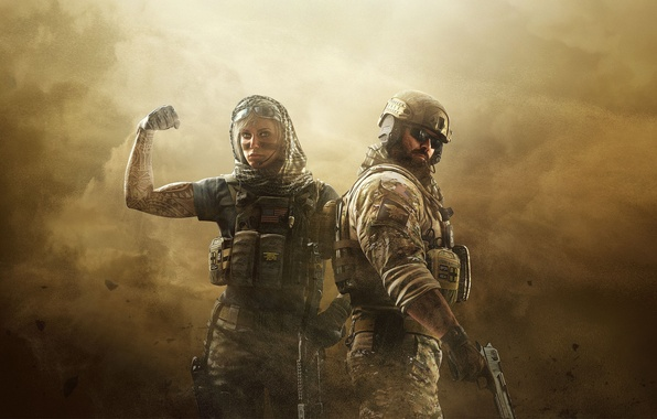 Picture sand, girl, gun, weapons, storm, tattoo, glasses, helmet, male, USA, armor, beard, equipment, Ubisoft, fighters, …