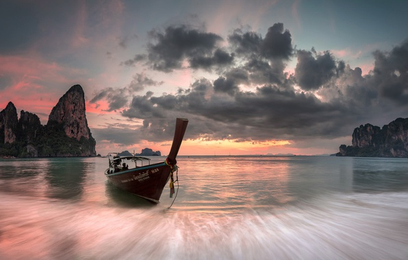 Wallpaper Thailand Beach Sunset Long Tail Boat West Railay Bay