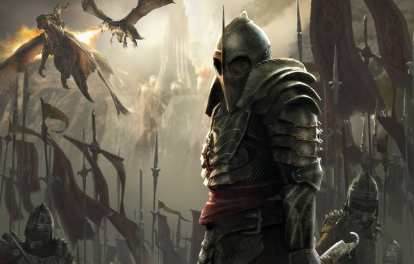 Picture fire, dragons, army, armor, warrior, banner