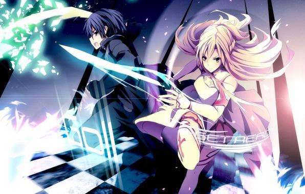 Picture girl, magic, Anime, guy, swords, sword art online, Sword Art Online, SAO, Asuna, sword art …