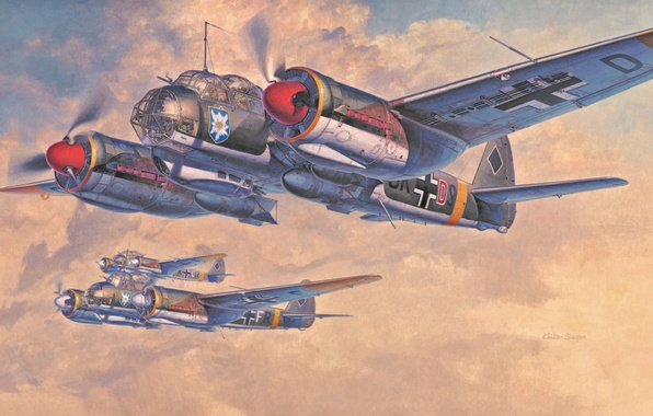 Image result for paintings ju88 bomber