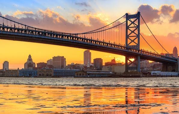 Picture bridge, river, panorama, Philadelphia, PA, Pennsylvania, Philadelphia, the Delaware river, Benjamin Franklin Bridge, Delaware River, …