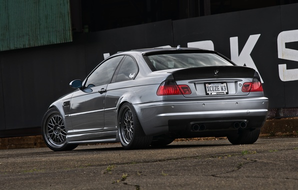 Picture wall, the inscription, bmw, BMW, coupe, silver, black, rear view, silvery, e46