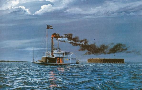 Picture wave, river, boat, smoke, art, Fort, escape, figure., (Fold planter), Planter, gunboats