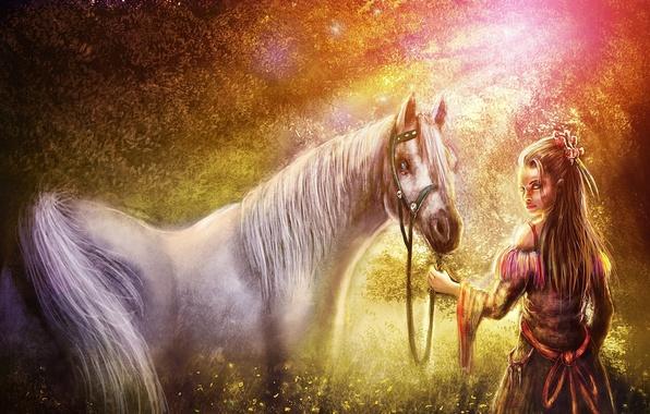 Picture forest, girl, light, horse, horse, art, Zahid Raza Khan