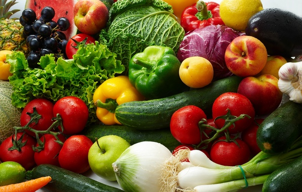 Picture lemon, apples, bow, grapes, eggplant, fruit, vegetables, tomatoes, cabbage, cucumbers, apricots, salad, paprika, nectarines, zucchini
