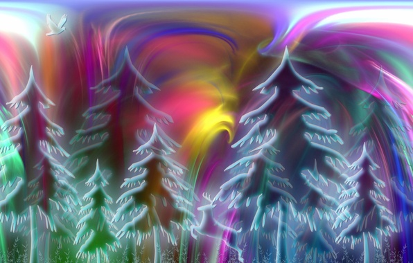 Picture forest, nature, abstraction, color, form