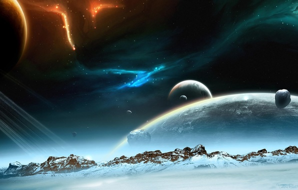 Picture space, stars, snow, mountains, planet, lights