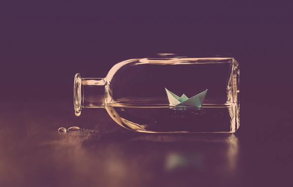 Picture water, drops, bottle, paper boat