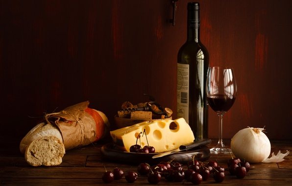 Picture berries, wine, red, bottle, cheese, glasses, bread, cherry, cherry, baton