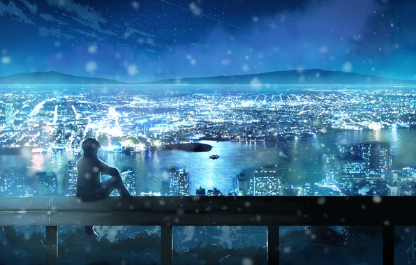 Picture the sky, stars, clouds, landscape, night, the city, lights, anime, art, guy, dias mardianto, donsaid