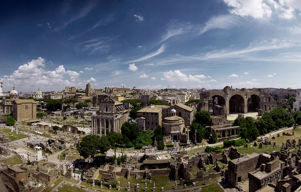 Photo wallpaper landscape, Rome, Italy, panorama, the ruins, ruins, Forum