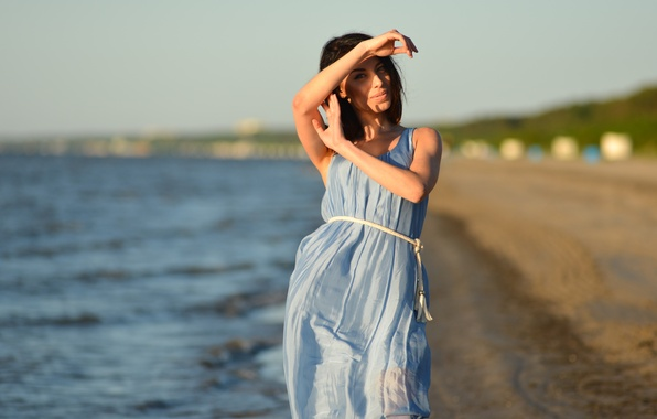 Picture beach, summer, look, girl, face, background, hair, dress