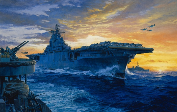 Picture Japan, art, aircraft, artist, the carrier, theatre, USA, Navy, painting, WW2, action, military, 1942., Tom …