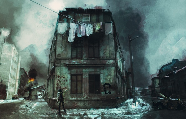Picture road, girl, the city, fire, garbage, war, graffiti, linen, dirt