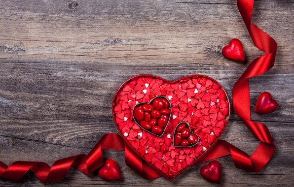 Picture romance, heart, tape, hearts, love, heart, wood, romantic, Valentine's Day, ribbon