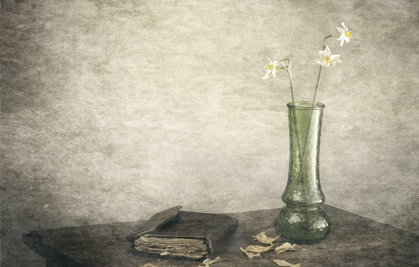 Picture leaves, figure, vase, daffodils