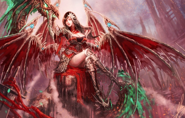 Picture look, pose, fiction, wings, art, sitting, demoness
