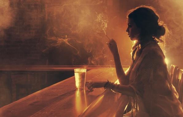 Picture girl, light, glass, smoke, bar, cigarette