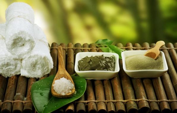 Picture towel, bamboo, spoon, leaf, Spa, sea salt