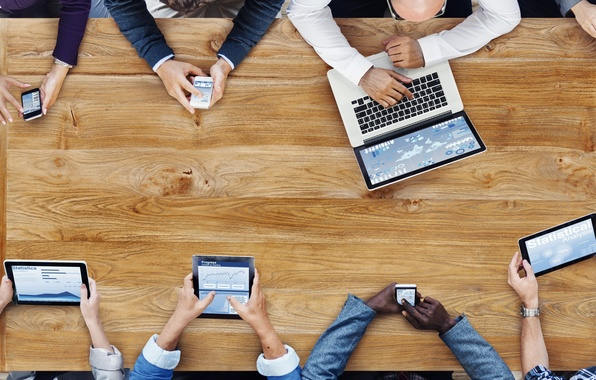 Wallpaper office group of people mobile devices desk images for