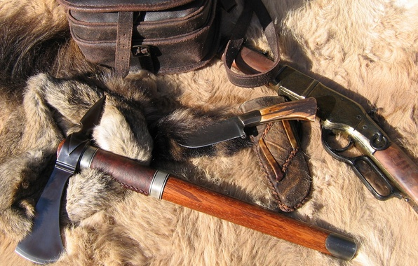 Picture knife, fur, axe, rifle, Tomahawk