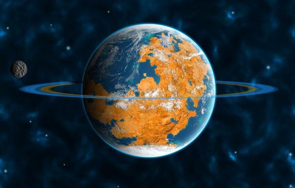 Picture the universe, planet, satellite, ring, orbit