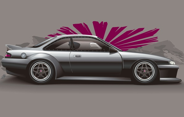 Picture art, Silvia, Nissan, silver, Nissan, Sylvia, silvery, S14, stance, JDM, profile